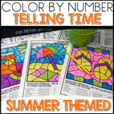 Color by Number Telling Time to the Hour and Half Hour Worksheets Summer Themed