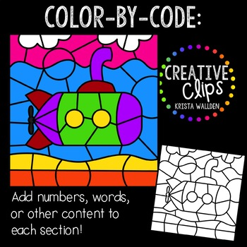 Color by Code: Transportation Clipart {Creative Clips Clipart}