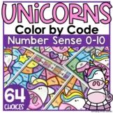 Unicorn Coloring Worksheets Number Sense 0-10 Color by Number