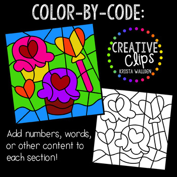 Color by Code: Valentine Clipart {Creative Clips Clipart}