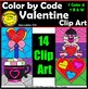 Color by Code Valentine Clipart Digital Images