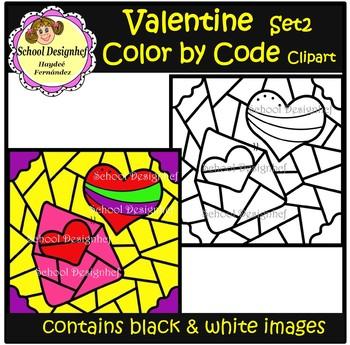 Color by Code - Valentine Hearts - Clip Art (School Designhcf)