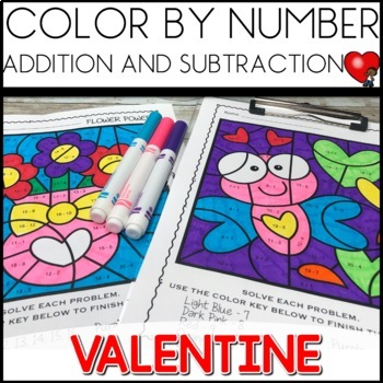 Color by Code (addition and subtraction) Theme: Valentine's Day