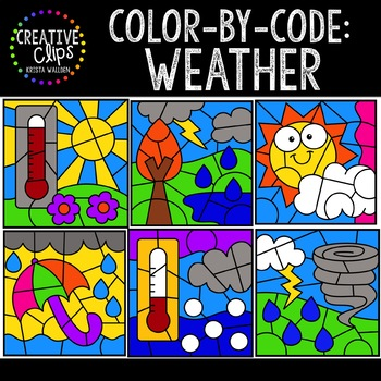 Color by Code: Weather Clipart {Creative Clips Clipart}