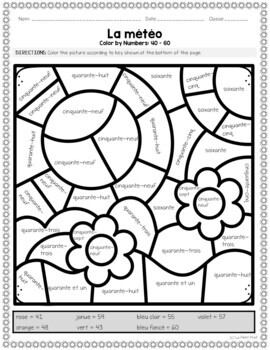 Color By Code Weather Theme With French Numbers Coloriage Par Numero La Meteo