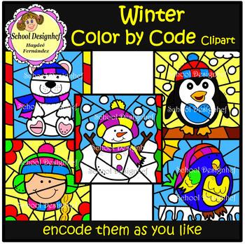 Color by Code - Winter - Clip Art (School Designhcf)