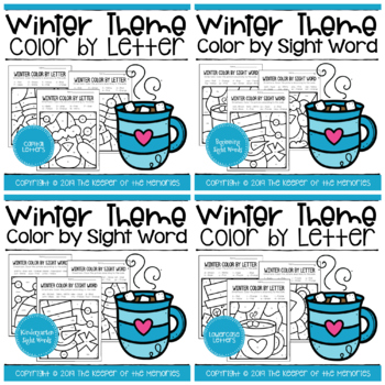 Color by Code Winter Worksheets Bundle
