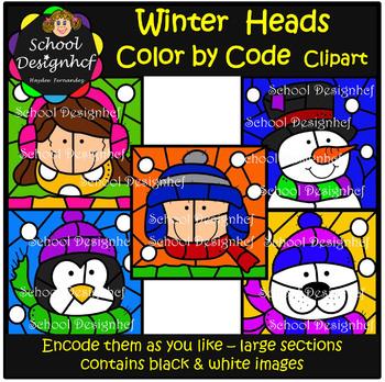 Color by Code - Winter heads - Penguin - Snowman - Clip Art (School Designhcf)