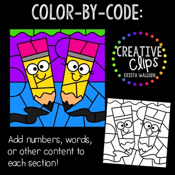 Color by Code: Writing Clipart {Creative Clips Clipart}