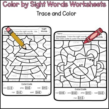 Color by Code Year Long Sight Word Worksheets Bundle for Pre-K and Kindergarten