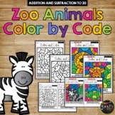 Color by Code ZOO ANIMALS Color by Number {Addition & Subtraction to 20}