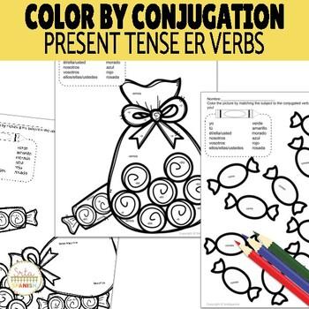 color by conjugation er verbs present tense