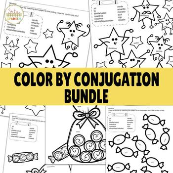 Color by Conjugation Present Tense AR, ER, IR BUNDLE!