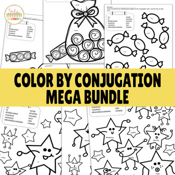 Color by Conjugation Present Tense MEGA BUNDLE! ALL SHEETS!