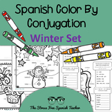 Color by Conjugation, Spanish, 3 Color By Verb activities for Winter!