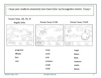 Color by Conjugation, Spanish, 3 Activities: Present Tense, Estar, Tener!