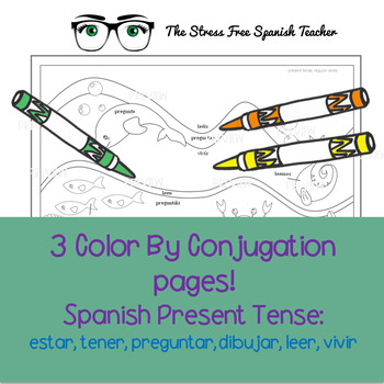 Color by Conjugation, Spanish, 3 Activities: Present Tense, Estar, Tener!