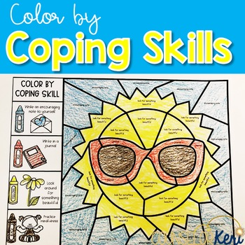 Color by Coping Skills Summer Activity for School Counseling