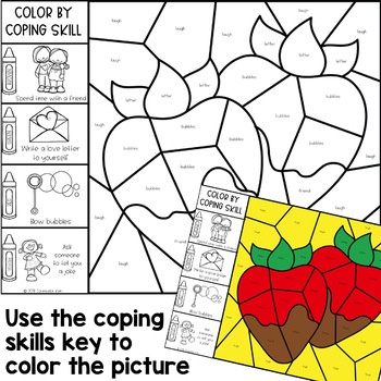 Color by Coping Skills Valentine's Day Activity for Elementary School Counseling
