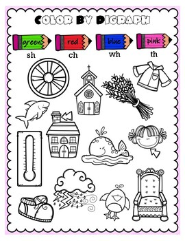 Color by Digraph Word Work Center
