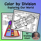 Color by Division Facts Exploring Our World Space 15 worksheets 15 answer keys