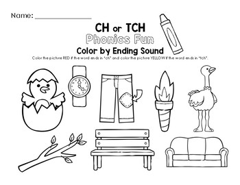 Color by Ending Sound Worksheet (The CH Digraph and TCH Trigraph)