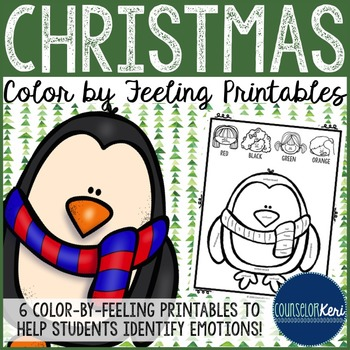 Christmas Color by Feeling Printables - Elementary School - School Counseling