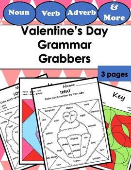 Color by ... Grammar Mosaic (Parts of Speech) - Valentine's Day