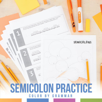 Color by Grammar: Semicolons Coloring Sheet