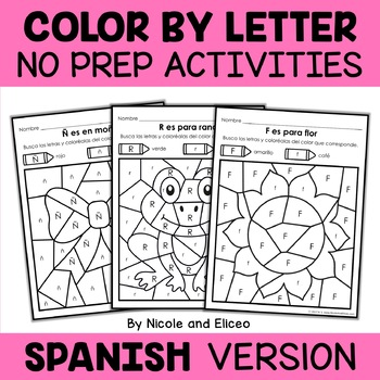 Spanish Color by Letter Hidden Pictures