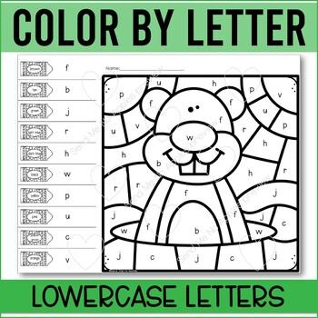 Color by Letter Kindergarten letter recognition worksheets GROUNDHOG DAY