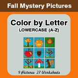 Color by Letter: Lowercase (A-Z) - Autumn (Fall) Mystery Pictures