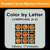Color by Letter: Lowercase (A-Z) -  Halloween Emoji Myster