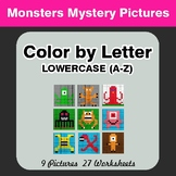 Color by Letter: Lowercase (A-Z) - Monsters Mystery Pictures