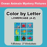 Color by Letter: Lowercase (A-Z) - Ocean Animals Mystery Pictures