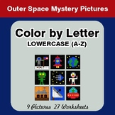 Color by Letter: Lowercase (A-Z) - Outer Space Mystery Pictures