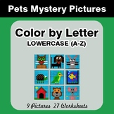 Color by Letter: Lowercase (A-Z) - Pets Mystery Pictures