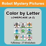 Color by Letter: Lowercase (A-Z) - Robots Mystery Pictures