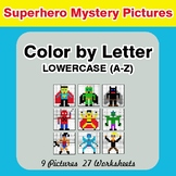 Color by Letter: Lowercase (A-Z) - Superhero Mystery Pictures