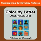 Color by Letter: Lowercase (A-Z) - Thanksgiving Mystery Pictures