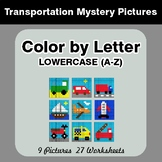Color by Letter: Lowercase (A-Z) - Transportation Mystery