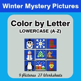 Color by Letter: Lowercase (A-Z) - Winter Mystery Pictures