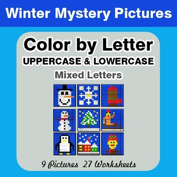 Color by Letter: Lowercase & Uppercase - Winter Mystery Pictures