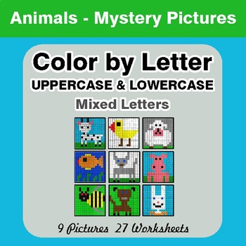Color by Letter: Lowercase & Uppercase - Animals Mystery Pictures