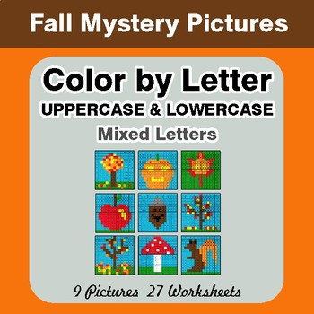 Color by Letter: Lowercase & Uppercase - Autumn (Fall) Mystery Pictures