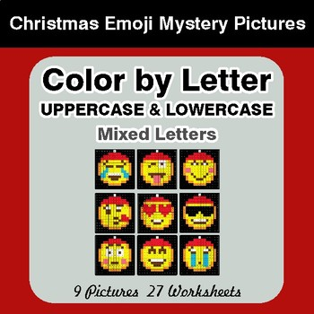 Color by Letter: Lowercase & Uppercase - Christmas Emoji Mystery Pictures