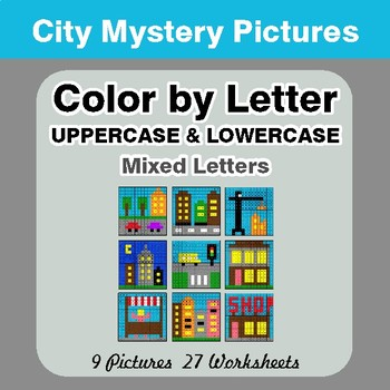 Color by Letter: Lowercase & Uppercase - City Mystery Pictures