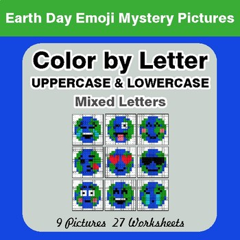Color by Letter: Lowercase & Uppercase -  Earth Day Emoji Mystery Pictures