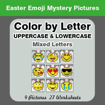 Color by Letter: Lowercase & Uppercase - Easter Emoji Mystery Pictures