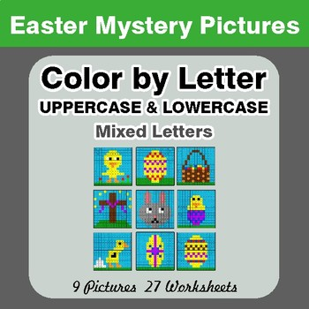 Color by Letter: Lowercase & Uppercase - Easter Mystery Pictures